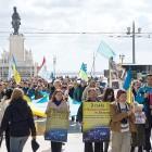 Українці вийшли на головну площу Лісбони. (Фото: Рада Спілки українців у Португалії)