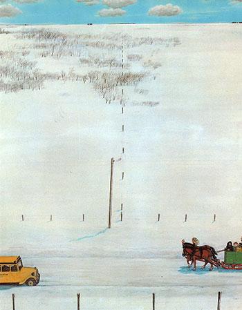 Зимова Канада: шкільний автобус та український весільний поїзд.