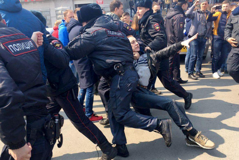 """26 березня у Москві сталися масові насильства поліції проти молоді. (Фото: """"Укрінформ"""")"""